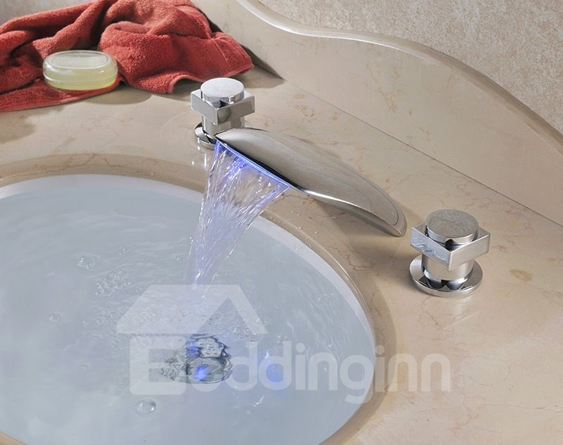 Contemporary Double Handles Widespread Brass Waterfall Faucet