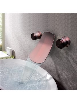 New Arrival Double Handles Widespread Brass Waterfall Wall Mount Faucet