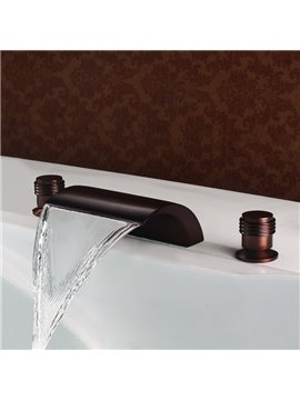 Antique Bronze Finish Widespread Double Handles Waterfull Faucet