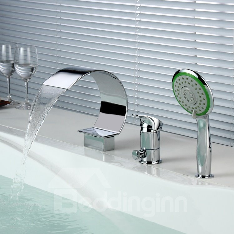 Contemporary Chrome Finish Widespread Three Piece Waterfall Faucet