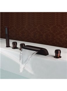 Low Arc-Shaped Widespread Five Piece Waterfall Faucet