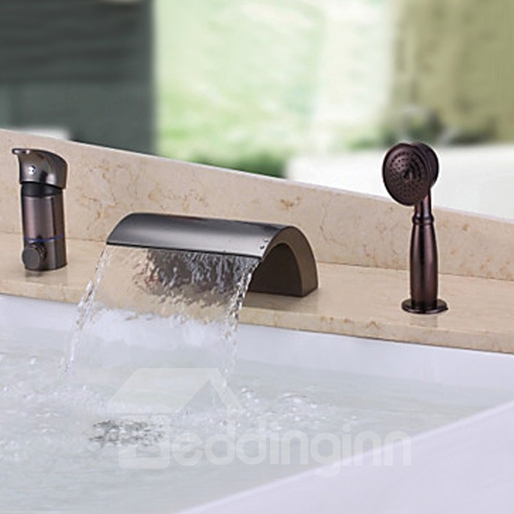 Low Arc Shaped Single Handle Widespread Three Piece Waterfall Faucet Beddin