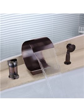 New Arrival Oil-rubbed Bronze Single Handle Widespread Three Piece Waterfall Faucet