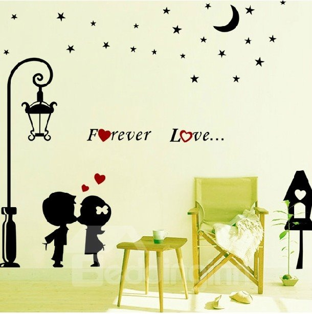 Forever Love Stars and Streetlight Kissing Wall Stickers