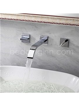 Contemporary Double Handles Chrome Finish Waterfall Wall Mount Faucet