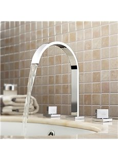 New Arrival Mid Arc Double Handles Waterfall Sink Faucet