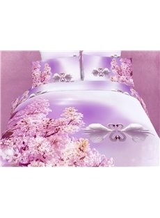 New Arrival White Swan Couples on the Lake Print 3D Bedding Sets