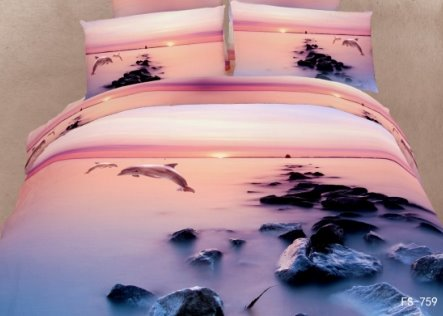 New Arrival Sunset Dolphin and Reef Print 3D Bedding Sets