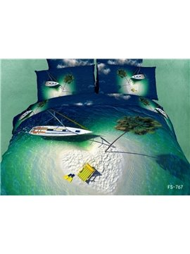 Heart Shaped Isle and Boat in the Green Sea Print 3D Bedding Sets