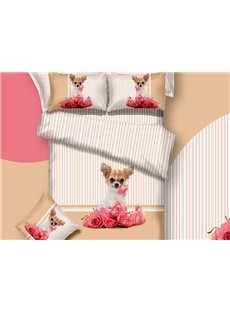 New Arrival Lovely Dog and Red Roses Print 3D Bedding Sets