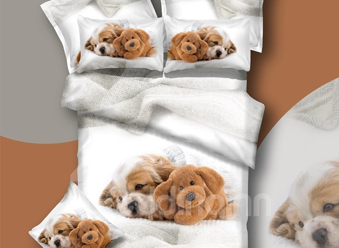 New Arrival Cute Dog and Toy Print 3D Bedding Sets