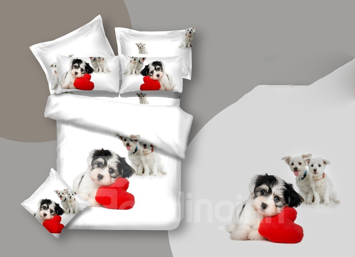 New Arrival Thinking Dog with Red Heart Print 3D Bedding Sets