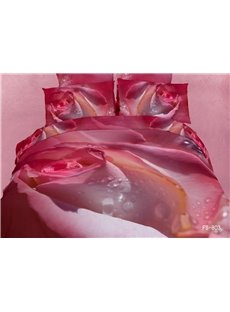New Arrival Pink Rose Bud with Dew Drops Print 3D Bedding Sets
