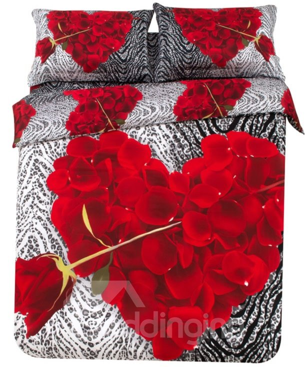 New Arrival Beautiful Red Rose and Heart Petals Print 3D Bedding Sets