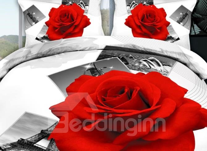 New Arrival Beautiful Red Rose and Eiffel Tower White Print 4 Piece Bedding Sets