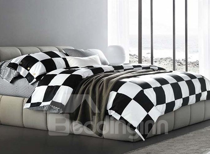 Fashion black and white checkered squares cotton bedding - Black and white bedding sets ...