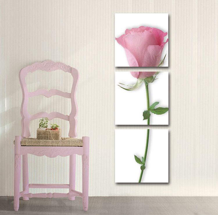 New Arrival Pink Rose Print 3-piece Cross Film Wall Art Prints