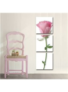 New Arrival Pink Rose Print 3-piece Cross Film Wall Art Prints