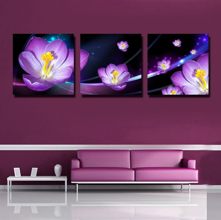 purple 3d flowers print 3 piece cross film wall art prints. Black Bedroom Furniture Sets. Home Design Ideas