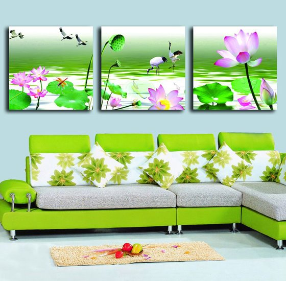 Pink Lotus and White Crane in Green River 3-piece Cross Film Wall Art Prints
