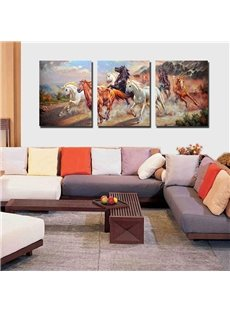 New Arrival Galloping Horses 3-piece Cross Film Wall Art Prints