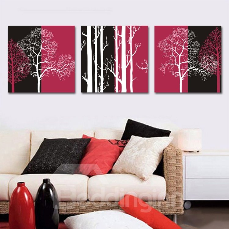 New Arrival White Trees with Black-Red Background 3-piece Cross Film Wall Art Prints