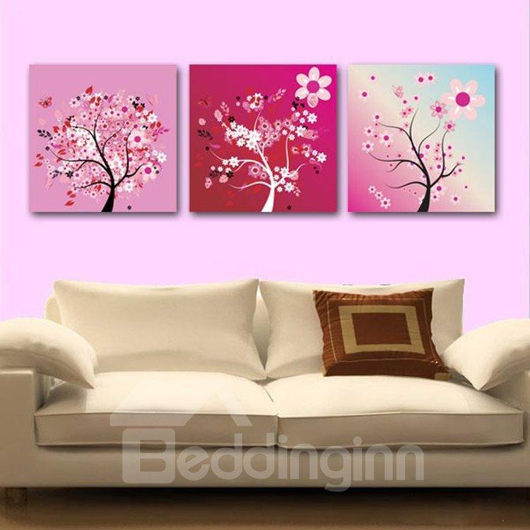 New Arrival Beautiful Flower Tree 3-piece Cross Film Wall Art Prints