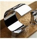 Modern Arc Single Handle Widespread  Waterfall Bathtub Faucet
