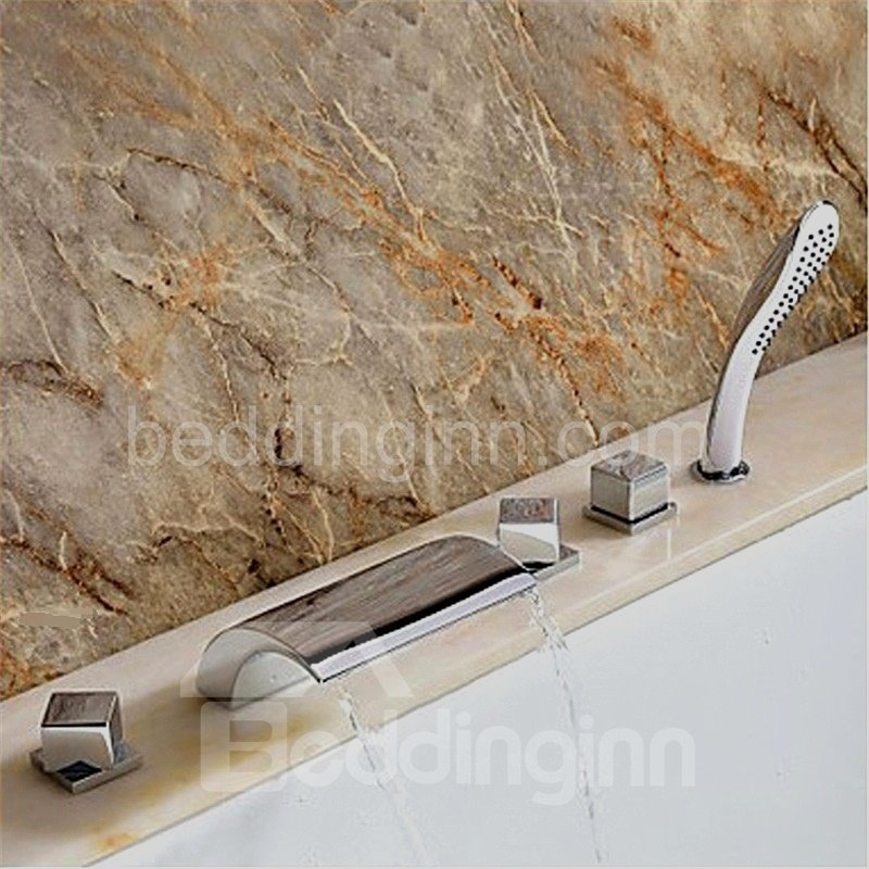 New Arrival Arc Widespread  Waterfall 5 Piece Brass Bathtub Faucet