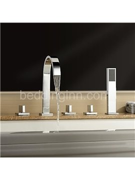 New Arrival High-Arc Spout Waterfall 5 Piece Brass Bathtub Faucet