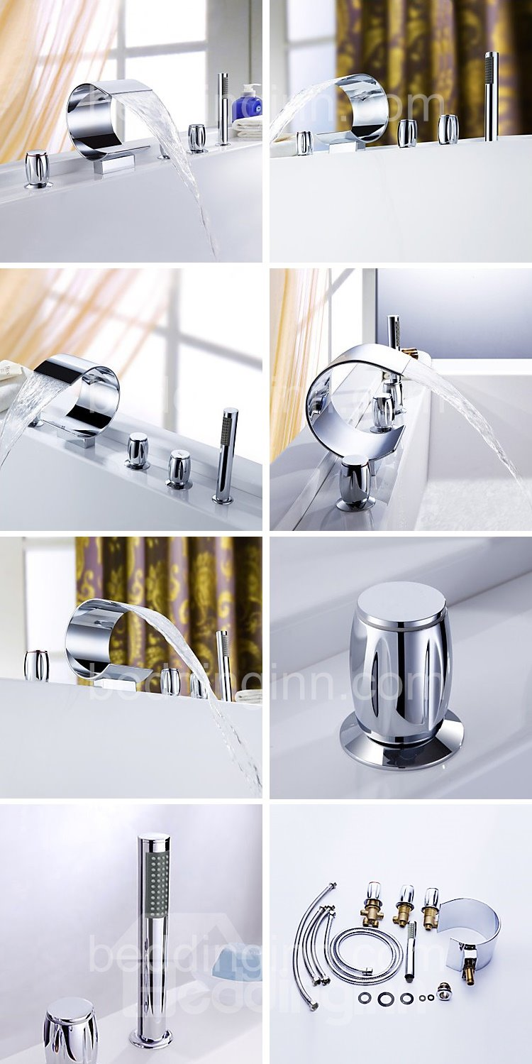 Contemporary Arc-Shaped Double Handles Waterfall Bathtub Faucet