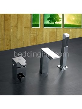 Contemporary Single Handle Waterfall Square Bathtub Faucet