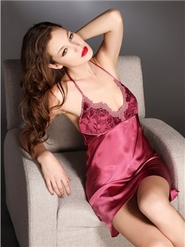 High Quality Silky Lace Border Sexy Sleepwear