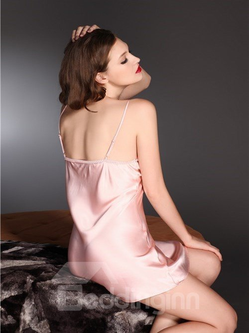 High Quality Sexy Flower Mulberry Silk Chemise