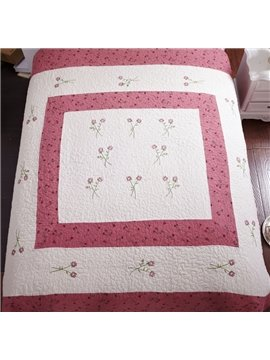Pink Boundary Washed Cotton Embroidery Flowers Bedding Sets