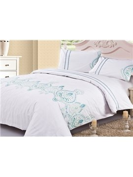 Romantic Embroidered Vase Cotton Duvet Cover Sets