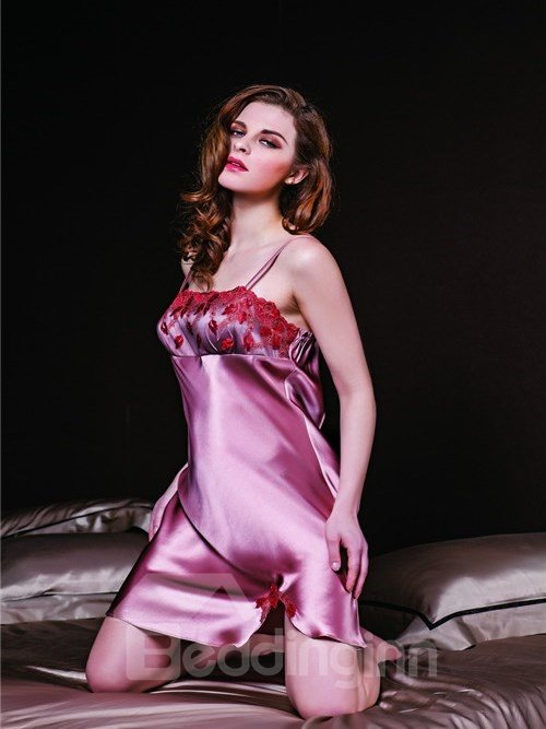 High Quality Appliqued Lace  Mulberry Silk Chemise