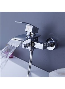 New Arrival Chrome Widespread Waterfall Wall Mount Bathtub Faucet