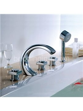Modern Arc-Shaped  Brass Three Handles Waterfall Bathtub Faucet