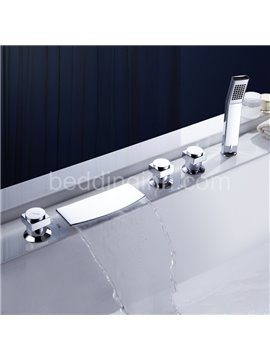 Fashion Chrome Finish Three Handles Widespread Waterfall Flat Bathtub Faucet