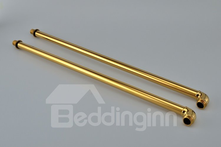 Antique Golden Double Handles Ti-PVD Finish Bathtub Faucet