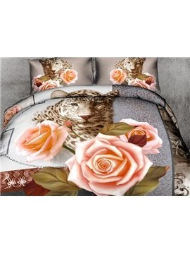 New Arrival Beautiful Leopard and Roses Print 4 Piece Duvet Cover Sets