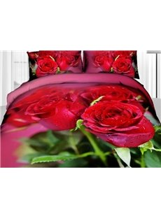 Beautiful Red Roses and Green Leaves Print 4 Piece Duvet Cover Sets