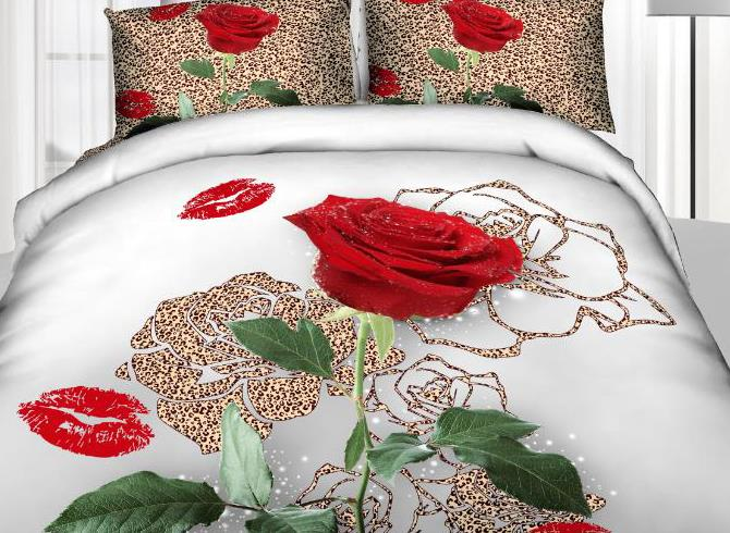 New Arrival Luxurious Leopard Rose and Red Lips Print 4 Piece Duvet Cover Sets