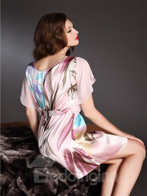 High Quality Beautiful Flowers Skincare Silk Sleepwear