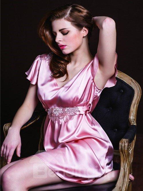 High Quality Graceful Belt Skincare Silk Sleepwear