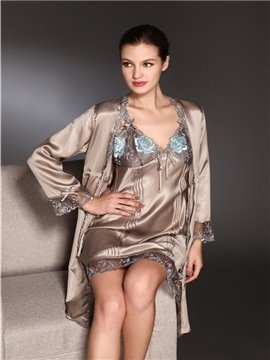 High Quality Beautiful Embroidery Skincare Mulberry Silk Sleepwear