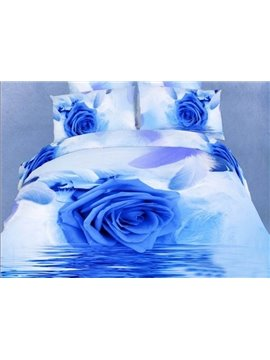 Blue Rose and Feather on the Water Print Duvet Cover Sets