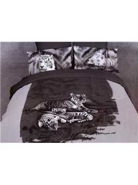 Lazy Tigers Sleeping on the Grass Pint Duvet Cover Sets