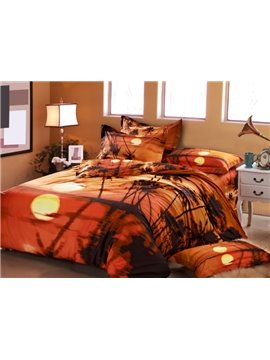 Coconut tree in the Sunset Print Duvet Cover Sets